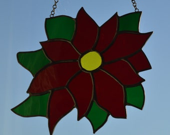 Poinsettia - Stained Glass Suncatcher