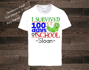 I survived 100 days of school 100th day of school celebration T-Shirt Shirt One Piece Bodysuit Personalized Name Custom Boy 100th day
