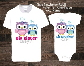 SET Big Sister Little Brother Personalized Custom Shirt One piece bodysuit I'm the big sister I'm the little brother big sis lil bro owls