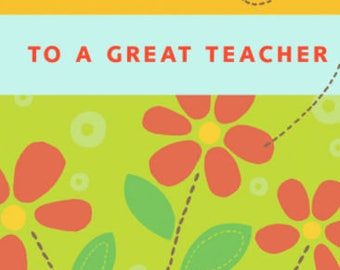 Teacher Thank You Greeting  Card, Grad Greeting Card, Teacher from Student, Teacher Appreciation, Thank You Card