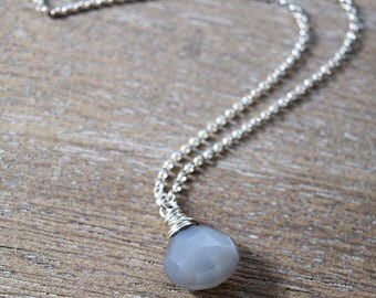 Shimmery Gray Moonstone Briolette Pendant and Bright Silver Chain Necklace - Solana Jewelry Boho Wanderlust Refined Handmade Gemstone