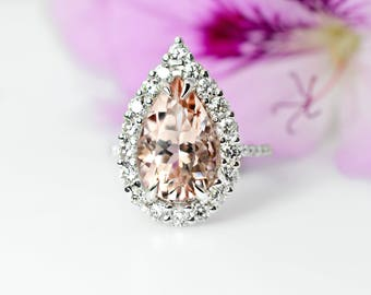 4.50 Ct. Pear Cut Halo Morganite & Diamond Engagement Ring 14K White Gold