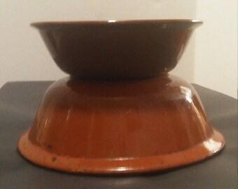 Stoneware Bowls Pair of Antique, Great for Potted Plants, indoor garden Succulent  Garden Decor