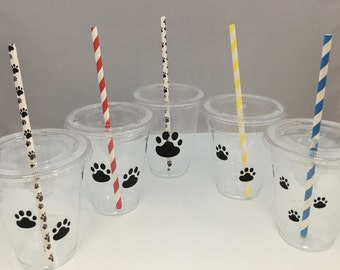 Paw Patrol Party Cups with Lids and Straws, Plastic Paw Print Party Drink Cups with straws