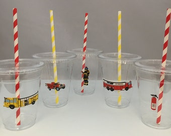 Firetruck Party Cups with Lids and Straws, Plastic Firetruck Party Drink Cups