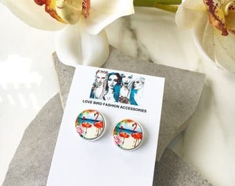 Flamingo Earrings, Small Stud Earrings, Wood Stud Earrings, Colorful Earrings,  Unique Earrings, Wood Round Earrings, 16mm Round Earrings,