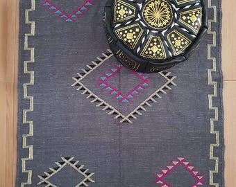 Celia vintage Moroccan Berber design grey cotton rug - handmade - kilim