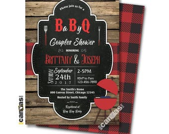BABY Q INVITATIONS, Bbq Baby Shower, Co-Ed Coed Couples bbq Neutral Gender Barbecue Wood Rustic Chalkboard Red Plaid Diy or Printed Bs241