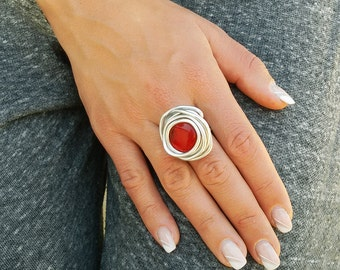 Silver ring, Red ring, Wrapped stone ring, Adjustable ring, Statement ring, Gift for her, Cocktail ring, Bridesmaid ring, Fashion ring.