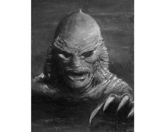 GILL MAN 5x7 original oil painting Creature From the Black Lagoon OOAK horror art