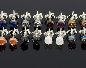 925 Sterling silver 4mm Druzy Stud earrings