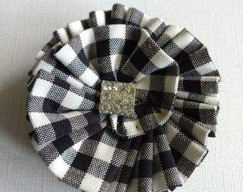 Gingham brooch, gingham corsage, wedding, black and white brooch, fabric flower brooch, floral brooch, gifts for her, wedding jewellery