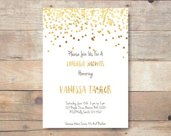 Lingerie Shower Bridal shower invite - gold confetti lingerie shower invitation br18