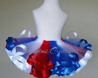 Red, white and blue; Memorial day; 4th of July ribbon trimmed tutu ONLY