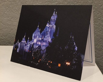 Sleeping Beauty Castle Holiday Disney Blank Card