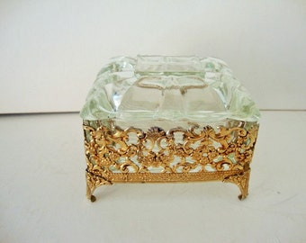 Trinket Jewelry Box, Jewelry Casket ,Pin Dish, Gold Tone Filigree Vanity box