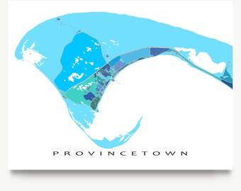 Provincetown Map Print, Provincetown, Cape Cod Art, PTown, Massachusetts