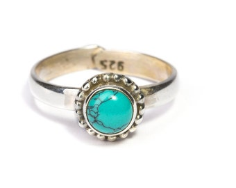 Sterling Silver Simple Gemstone Adjustable Handmade Ring Turquoise, Moonstone, Labradorite Gemstone  Gift Boxed , Free UK Delivery 2R17