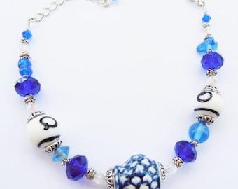 Ceramic and Blue Crystal Bracelet