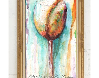 """Mother's Day Gift For White Wine Lover, Order By May 10 And Get By Mothers Day, Fine Art Giclee Modern White Wine Wall Art, 10X20"""", 24X36"""""""