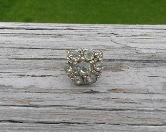 SALE Repurposed rhinestone button ring