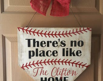 Baseball home plate door hanger - Baseball wreath - Baseball home plate sign - There's no place like home - Personalized door sign