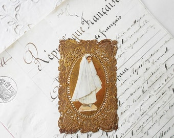 1800s French Prayer Lace Card 3D First Holy Communion Souvenir Card