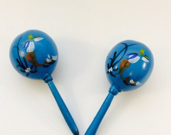 Mexican Maracas Musical Instruments Maraca Pair of 2 Blue Wooden Gourd Percussion Shakers Hand Painted Flowers Wood Hand Held Rattles