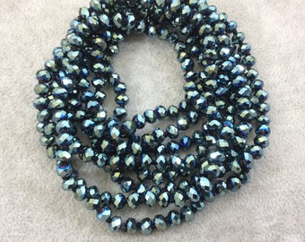 "72"" Knotted Black Thread Necklace with 6mm Faceted Metallic AB Finish Rondelle Shape Opaque Pine Green Chinese Crystal Beads - (KBL72CC-104)"