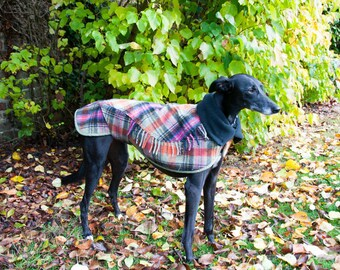 Dog winter coat, Whippet Coat, Wool Blanket Coat,Dog Coat, Scottish Tartan, Custom Made, Polar Fleece Lined Coat, Small Lurcher/Whippet,