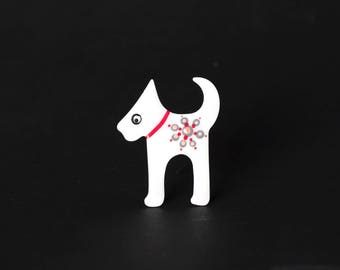 Scottie Brooch, White Dog Brooch,  Enamel Dog Pin, Enamel Dog Brooch, Enamel Pin, Dog Badge, Dog Lover Gift, Personalized Brooch