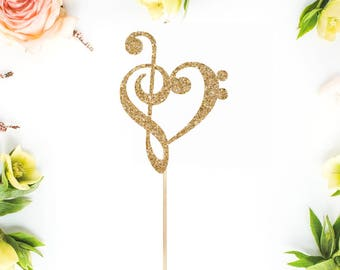 Treble Bass Clef Heart Cake Topper  l  Music Cake Topper  l  Music Heart Cake Topper  l  Music Wedding Cake Topper  l  Engagement Topper