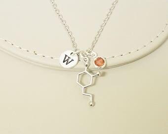 Molecule necklace, Molecular necklace, Dopamine necklace, Chemistry Necklace, Scientist Gift, chemistry gift, Serotonin Charm Necklace
