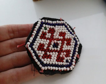 "2.5"" Octagon Shape Beaded Tribal Applique Sew-On Patch Kuchi Kochi Boho Chic Ethnic Adornment for DIY Crafts Jean Jackets ATS"