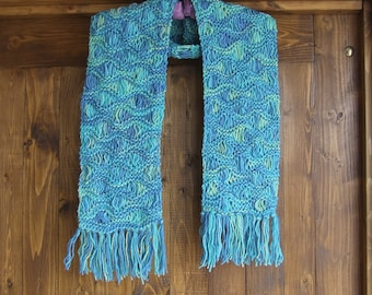 Hand knitted drop stitch wool scarf  -  Multi colour drop stitch pattern scarf with fringe in shades of blue