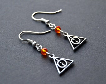 Deathly Hallows Earrings. Harry Potter Jewelry. Swarovski Crystal Earrings.