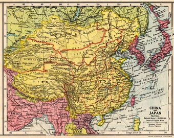 CHINA and JAPAN Vintage MAP 1930 Political