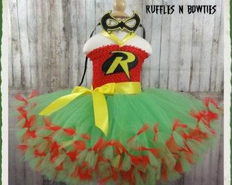 ROBIN Superhero Inspired Tutu...Fun for Birthdays, Weddings, Photo's...With Mask & Hairbow...Add a Robin Cape