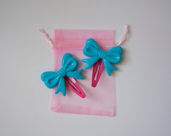 Blue and Pink Bow Clips