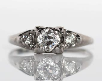 Circa 1930s Art Deco 14K White Gold .44ct Old Mine Brilliant Cut Diamond Engagement Ring - VEG#769