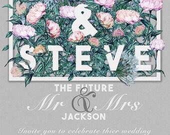 Flower wedding invitation