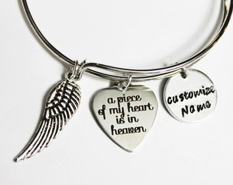 Memorial Bracelet.  Personalized MEMORIAL JEWELRY. Adjustable bracelet, memorial gift,Bangle Bracelet. angel wing, Piece of my Heart.Heaven.