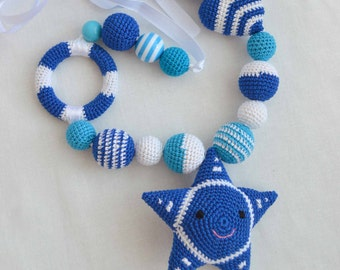 Nursing necklace, Ring Teether, rattle star, Teether star, Organic Nursing necklace, natural Teether, necklace for feeding, mobility in bed