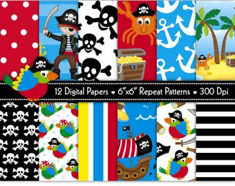 Pirate Digital Paper,Digital Paper,Pirate Ship Paper,Pirate Paper,Pirate Clipart,Pirates,Parrot Paper,Scrapbook Papers,Pattern,Commercial