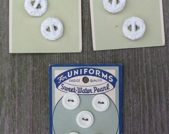 Vintage Button Card, Sewing Buttons, Replacement Buttons, Craft Supply, Retro, Collection, Antique, Le Chic, White, Ancor, Uniform Buttons