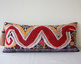 "Vintage Hand Woven Ethnic Laos Textile Pillow with Insert, Ethnic Laos Hand Woven and Embroidered Pillow 9"" x 20.5"" Insert /17035"
