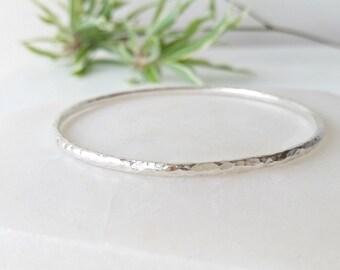 Silver Bangle.Sterling Silver Bracelet, Bangle. Hammered bangle. Handmade jewellery.