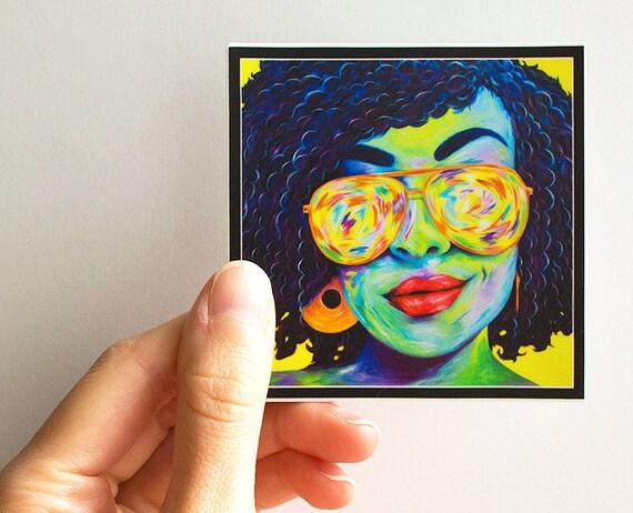 Vinyl Sticker Decal - Natural Hair Art, African American Art, Pop Art, Black Art, Laptop Sticker, iPad Sticker, Car Sticker.