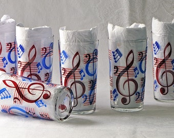 Vintage Beverage Tumblers Red and Blue Treble Clef Music Set of Six / Music Drinking Glasses / Iced Tea Glasses / Lemonade Glasses