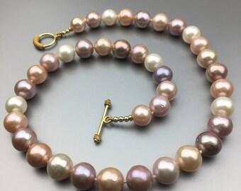 Kasumi-like Multicolor Pearl Necklace N24